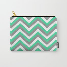 Mint Green, White, and Grey Chevron Carry-All Pouch