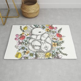 Bunny in the midst of Flowers Rug