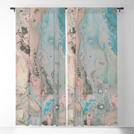 Fluid Art Acrylic Painting, Pour 17, Pastel Pink, Blue, Gray & White Blended Color Blackout Curtain