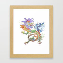 Bright and Vivid Chinese Fire Dragon Vector Framed Art Print