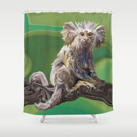 psychadelic Shower Curtains featuring Melanie's Marmoset by Distortion Art
