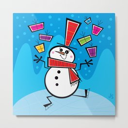 Juggling Snowman! Metal Print