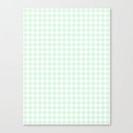 Small Diamonds - White and Pastel Green Canvas Print
