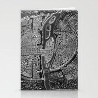 paris map Stationery Cards featuring Paris map by Le petit Archiviste