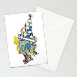 Cute fabric art vintage style Stationery Cards