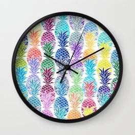 Colorful Watercolor Pineapple Pattern Wall Clock