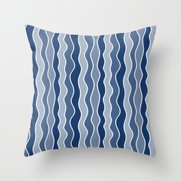 Blue Mid Century Modern Abstract Wave Pattern // Medium Vertical Wavy Lines Throw Pillow