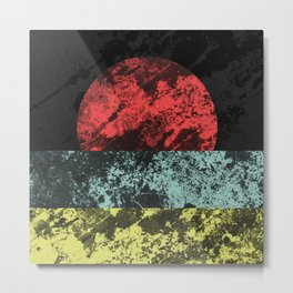 Sunset Beach - Abstract, marble effect, geometric painting Metal Print