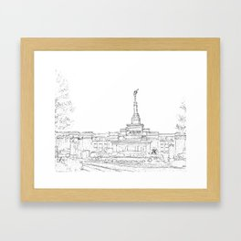Reno Nevada LDS Temple Sketch Framed Art Print