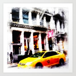 Yell0w cab in Soho Art Print