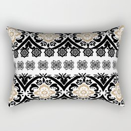 Black white faux gold glitter hand painted floral aztec Rectangular Pillow