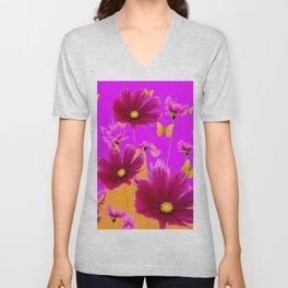DECORATIVE YELLOW BUTTERFLIES & FUCHSIA PURPLE SPRING FLOWERS GARDEN ART Unisex V-Neck