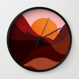 Abstraction_Mountains_SUNSET_Minimalism Wall Clock