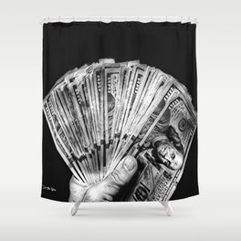 Money - Black And White Shower Curtain