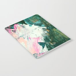 Meditate [2]: a vibrant, colorful abstract piece in bright green, teal, pink, orange, and white Notebook