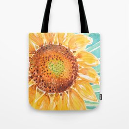 Wild Sunflower Golden Waves_Minimal hand painted watercolor Tote Bag