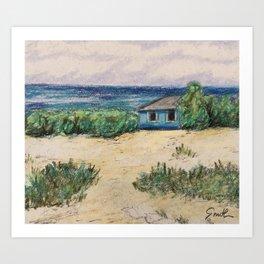 Blue Beach House Art Print