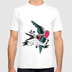 Hirondelle White MEDIUM Mens Fitted Tee