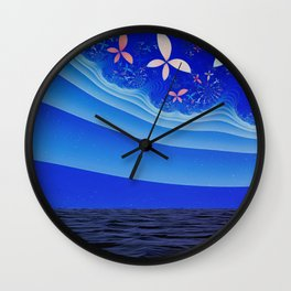 Fractal Landscapes: Night on the Sea of Minerva Wall Clock