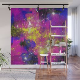 Journey Through Space - Abstract purple and blue, space themed artwork Wall Mural