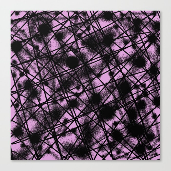 Web Of Lies - Black and pink conceptual, abstract, minimalistic artwork Canvas Print