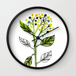 Watercolor Berry Flowers Wall Clock