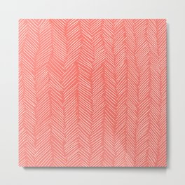 Living Coral Herringbone Happiness Metal Print