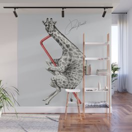 giraffe drinking - giraffa che beve - girafe qui boit Wall Mural