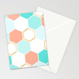 honeycomb coral & blue Stationery Cards