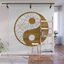 Abstract YIN AND YANG Taijitu Symbol   gold Wall Mural