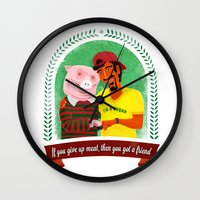 vegan Wall Clocks featuring Vegan by Bakal Evgeny