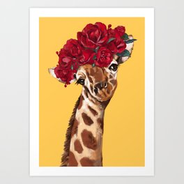 Giraffe with Rose Flower Crown in Yellow Art Print