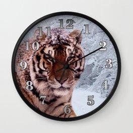 Tiger and Snow Wall Clock