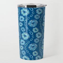 Wavy Toothy Flowers > Blue Travel Mug