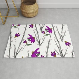 Spring Purple Flower Garden and Pussywillows Rug
