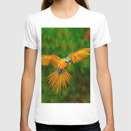 Flying Golden Blue Macaw Parrot Green  Art T-shirt