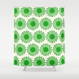 vintage flowers green Shower Curtain