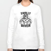diver Long Sleeve T-shirts featuring Swolly Diver by Kris Petrat Design :  Art Love Moto