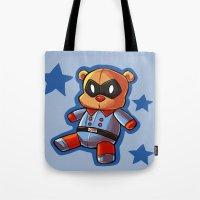 bucky Tote Bags featuring bucky!bear by zombietonbo