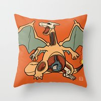 charizard Throw Pillows featuring Charizard Anatomy by Logan Niblock