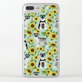 Schnauzer sunflowers spring summer floral dog breed dog pattern pet friendly Clear iPhone Case