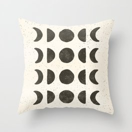 Moon Phases - Black on Cream Throw Pillow