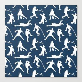 Baseball Players // Navy Canvas Print
