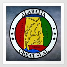 Alabama State Seal Clock  Art Print