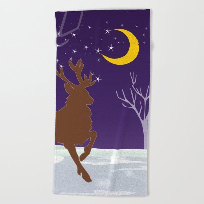 Deer on the ice Beach Towel