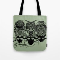 solid Tote Bags featuring Owls of the Nile by Rachel Caldwell