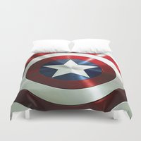 steve rogers Duvet Covers featuring Captain Steve Rogers Shields  by neutrone