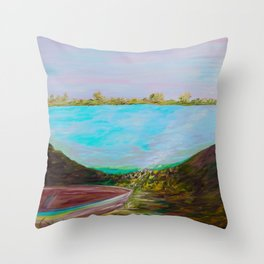 A Boat and a Seamless Sky Throw Pillow