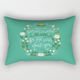 1 Peter 5:7 - Give All Your Worries And Cares To Him Rectangular Pillow