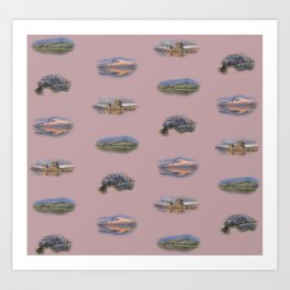 Highland Landmarks in pink Art Print